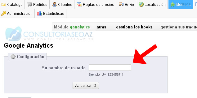 insertar google analytics prestashop